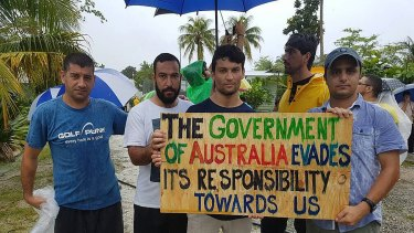 Men protest at the now-closed detention centre in Manus.