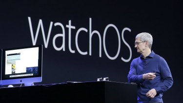 Apple CEO Tim Cook talks about the Apple Watch operating system at the Worldwide Developers Conference in San Francisco