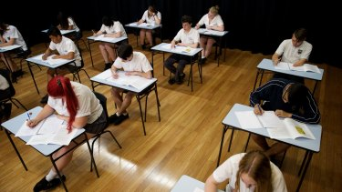 HSC students sit their exams in 2015.