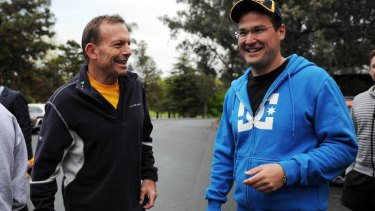 Federal leader of the Liberal party Tony Abbott had a morning run with ACT Liberal leader Zed Seselja around Lake Burley Griffin today.