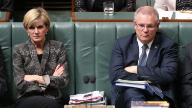 Foreign Affairs Minister Julie Bishop and Social Services Minister Scott Morrison during question time  on Thursday.