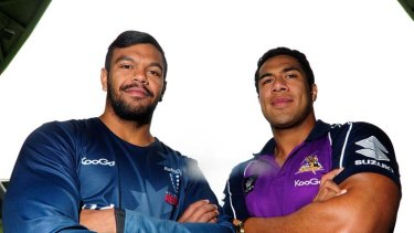 Brothers in arms: Kurtley Beale (left) and Siosaia Vave relive old times in Melbourne yesterday.