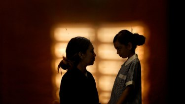 A mother and daughter, 10, who spent time in detention on Christmas Island.