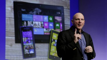 Microsoft CEO Steve Ballmer launches Windows 8 in New York last week.