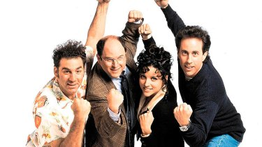 Jerry Seinfeld, with his fellow <i>Seinfeld</i> cast members (from left) Michael Richards, Jason Alexander and Julia Louis-Dreyfus.