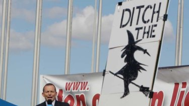 The Leader of the Opposition Tony Abbott addresses the No Carbon Tax rally outside Parliament House in  Canberra today.