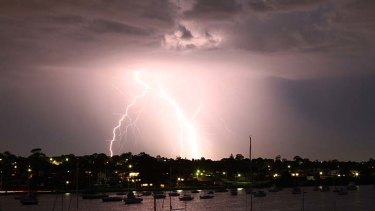 Lighting up the sky ...  the view from a balcony in Drummoyne overlooking Five Dock Bay about 8pm last night.