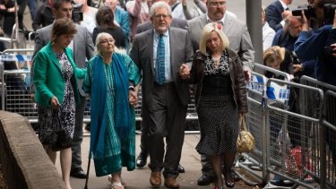 Rolf Harris leaves court after being found guilty of 12 indecent assault charges.