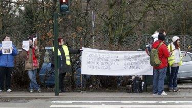 People protest outside Copenhagen Zoo.