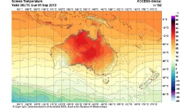 Weather models point to central Australia warming up by next Sunday.