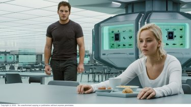 Jennifer Lawrence is rudely awakened 90 years early by Chris Pratt.
