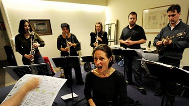 Deborah Kayser and an ensemble from the Chamber Made Orchestra rehearse Exile, soon to become and iPad app.