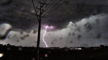 Lighting strikes near Blacktown.