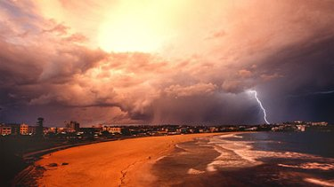 The sands of Bondi in a thunderstorm, photographed by Tanya Lake.