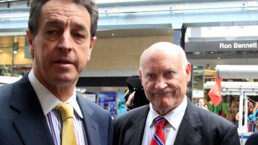 ''People would queue to talk to me'' ... Ian Macdonald, right, with his lawyer outside the hearing.