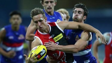 Luke Dunstan in action  against the Western Bulldogs during the NAB Challenge Cup