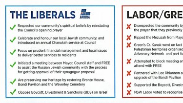 The top of the flyer distributed by the Liberal party.