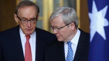 Former foreign minister Senator Bob Carr and former prime minister Kevin Rudd.