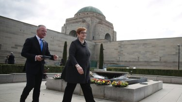 Australian War Memorial director Dr Brendan Nelson and Minister for Foreign Affairs Marise Payne at the National War Memorial.