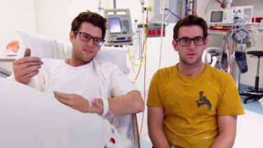 'Thought I was dead': Andrew in a Gold Coast hospital after his wrist was seriously injured in a House Rules onsite accident, with twin brother Jono by his side.