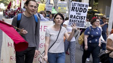 Brisbane crowds protest Kevin Rudd's so-called PNG solution.