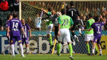 Glory goalkeeper Tando Velaphi fails to save a shot on goal by Fury's Chris Grossman in stoppage time at nib Stadium on Friday night.