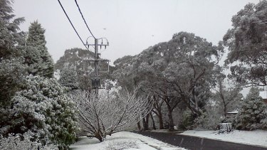 A layer of snow covers the ground at Mount Victoria today.