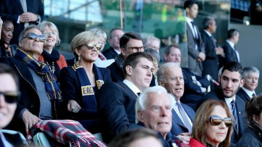 US Vice-President Joe Biden attends an AFL match between West Coast and Carlton at the MCG. With him were Maxson Cox and Foreign Minister Julie Bishop.