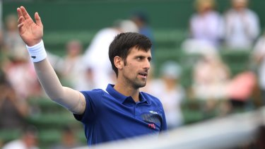 Waiting to pounce: Novak Djokovic after beating Dominic Thiem on Wednesday.