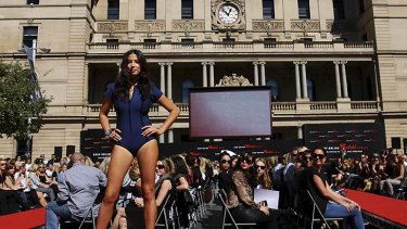 Model Jessica Gomes poses in a Lisa Marie Fernandez swimsuit.