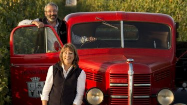 Quality and character... Stephen and Prue Henschke in the Hill of Grace vineyard.