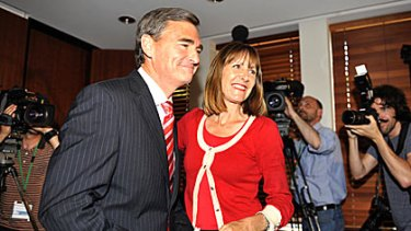 John Brumby with his wife Rosemary McKenzie shortly after the former premier conceded defeat this evening.