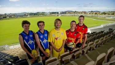 Joseph Looby, Zach Barton-Browne and of the Gungahlin Jets James Perry of Canberra City, Lincoln Withers  and Dave Howell  of the Gungahlin Eagles, at the new Gungahlin enclosed oval on Monday.
