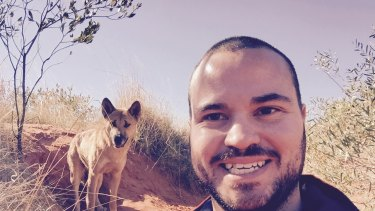 Dingo researcher Bradley Smith on expedition in the Great Sandy Desert.