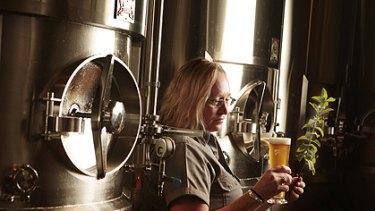 Sam Fuss pulls a Mint Ninja at True South Brewery.