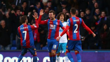 Good times: James McArthur celebrates scoring for Crystal Palace against Newcastle United at Selhurst Park.