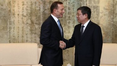 Prime Minister Tony Abbott meets with the Mayor of Shanghai, Yang Xiong, on Friday April 11.