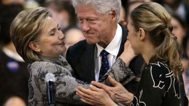 Been through so much ... Hillary Rodham Clinton with her husband Bill Clinton and daughter Chelsea.