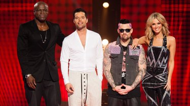 <i>The Voice</i> 2013 coaching panel: Seal, Ricky Martin, Joel Madden and Delta Goodrem.