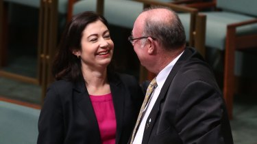"Warren Entsch and Terri Butler at the introduction of a private member's bill on marriage equality in August last year. On Wednesday he accused the Labor MP of ""using the gay community to try and push a political point""."