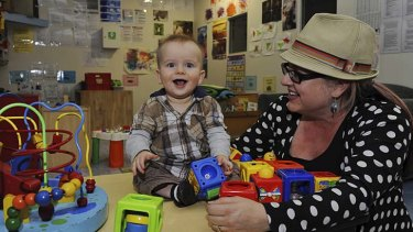 "Good news for parents … Lisa Mulligan said she felt ""guilty and nervous"" about sending her nine-month-old son Charlie to childcare but he soon settled in."