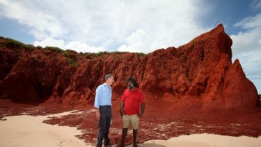 Bob Brown and a traditional owner, Joseph Roe, survey the area for a proposed LNG plant at James Price Point on the coast 60 kilometres north of Broome.