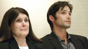 Sex abuse accuser Michael Egan III, 31, and his mother Bonnie Mound on Monday, April 21, 2014.