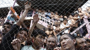 Asylum seekers at a detention centre in Malaysia, where the government is set to sign a refugee swap deal with Australia.