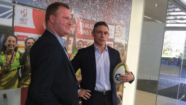 Former Wallaby Rod Kafer, right, and ARU  general manager of high performance Ben Whittaker.