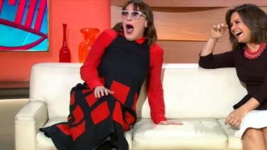 Shock of the nude ... Lisa Wilkinson and <i>Today Show</i> guest Nikki Gemmell react to seeing Karl Stefanovic streak through the studio.