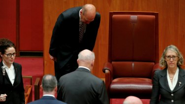 Senate President Stephen Parry bows on the arrival of the Governor-General, Sir Peter Cosgrove, for the opening of the 45th Parliament.