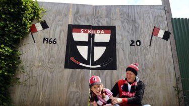 St Kilda fans Peter Armstrong and daughter Annabelle.