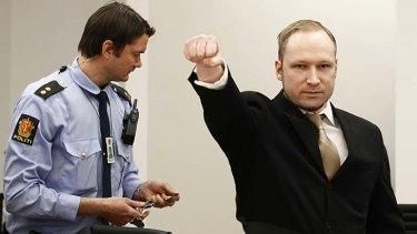 Extremist salute ...  Anders Behring Breivik