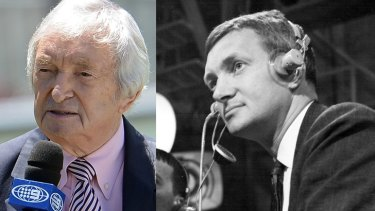 Richie Benaud commentating in 1993 (left) and also in 1962.